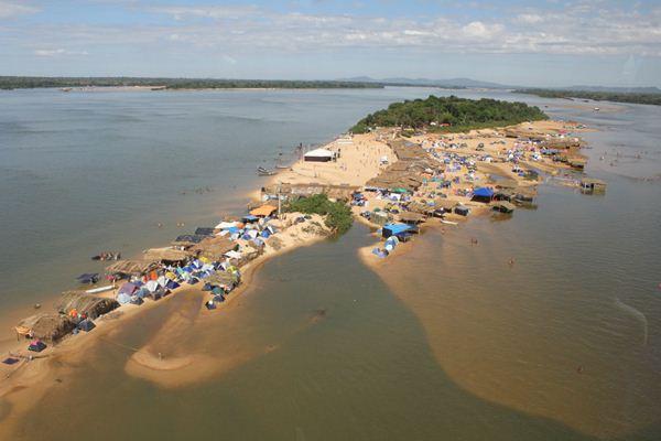 Imagem aérea da Praia do Pontão Foto/Reprodução Xinguara