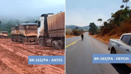 Resultado de imagem para FOTOS DO BOLSONARO INAUGURANDO A BR-163 NO PARÁ